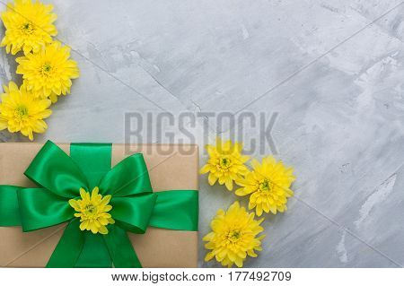 Gift Box Bouquet Yellow Chrysanthemums On Grey Concrete Background
