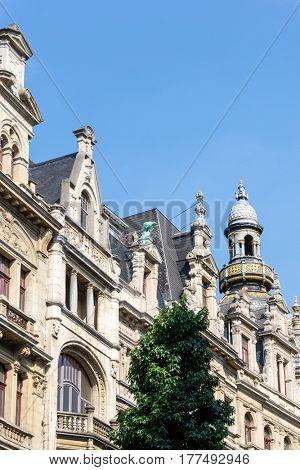Beautiful street view of  Old town in Antwerp, Belgium
