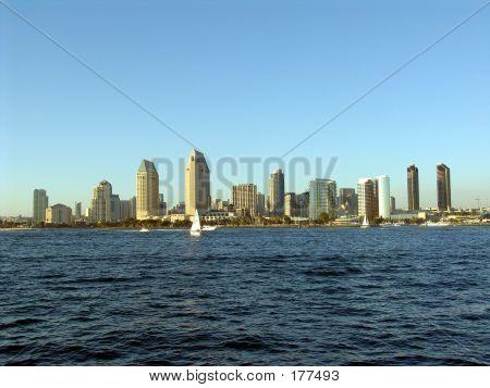 san diego skyline from coronado island. poster