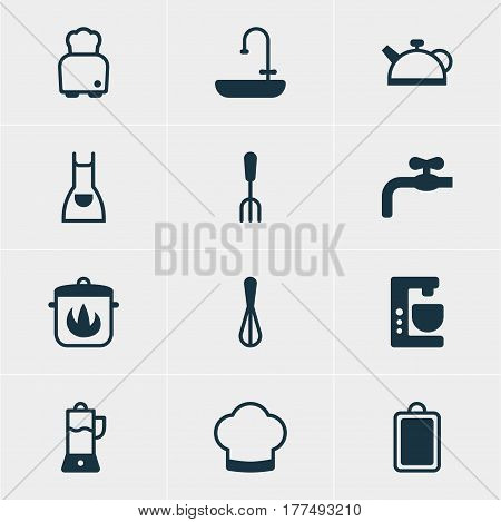 Vector Illustration Of 12 Kitchenware Icons. Editable Pack Of Teakettle, Smock, Mixer And Other Elements.