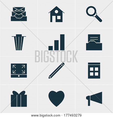 Vector Illustration Of 12 Online Icons. Editable Pack Of Gift, Trash, Increase Chart And Other Elements.