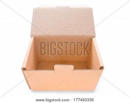 Open cardboard box isolated on white. Wide angle perspective with bokeh clipping path included