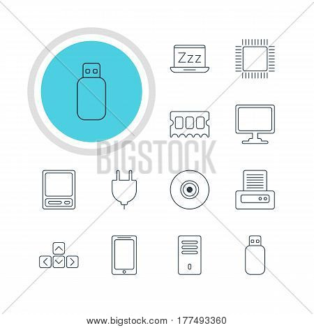 Vector Illustration Of 12 Notebook Icons. Editable Pack Of Laptop, Microprocessor, Smartphone And Other Elements.