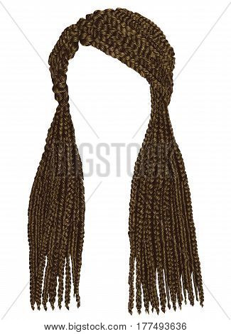 trendy african long hair cornrows. realistic  graphics. fashion beauty style.