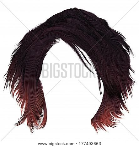 trendy  woman disheveled hairs kare with fringe  . dark   varicolored  red coloring.  medium length . beauty style . realistic  3d .