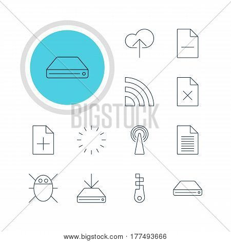 Vector Illustration Of 12 Internet Icons. Editable Pack Of Computer Virus, Removing File, Delete Data And Other Elements.
