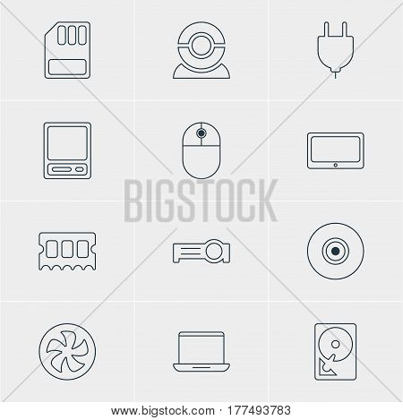 Vector Illustration Of 12 Laptop Icons. Editable Pack Of Objective, Notebook, Presentation And Other Elements.