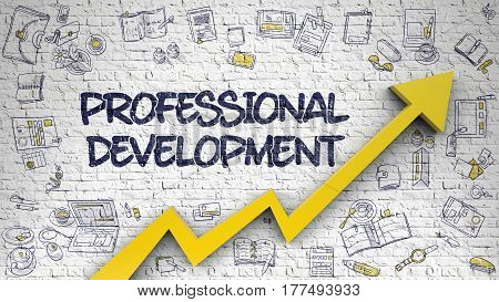 Professional Development - Modern Illustration with Hand Drawn Elements. Professional Development Drawn on Brick Wall. Illustration with Doodle Design Icons. 3d.