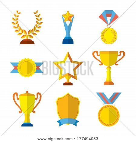 Trophy icons flat set of medallion success award winner medal isolated vector illustration. Collection of shields, medals, stars for your design