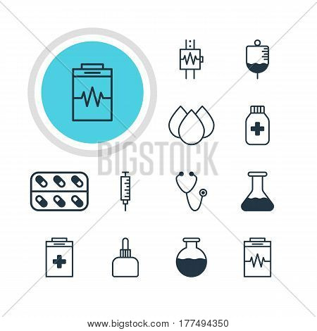 Vector Illustration Of 12 Health Icons. Editable Pack Of Heartbeat, Exigency, Trickle And Other Elements.