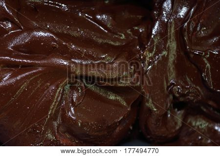 Detail of an artisan ice cream of chocolte noir