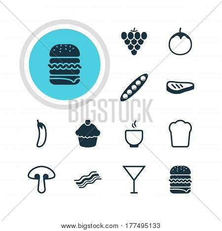 Vector Illustration Of 12 Cooking Icons. Editable Pack Of Fungus, Bean, Muffin And Other Elements.