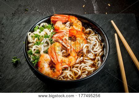 Asian Soup With Noodles And Shrimps Prawns
