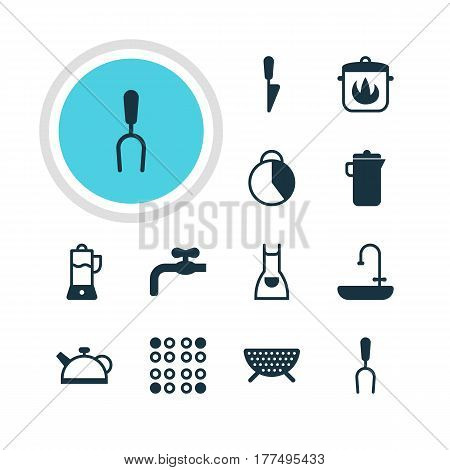 Vector Illustration Of 12 Cooking Icons. Editable Pack Of Timekeeper, Smock, Stewpot And Other Elements.