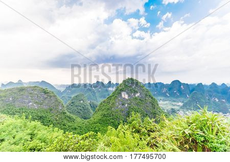 view on karst landscape by Yangshuo in China