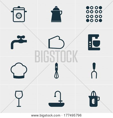 Vector Illustration Of 12 Kitchenware Icons. Editable Pack Of Steamer, Tea, Oven Mitts And Other Elements.