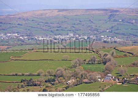 Town of Moretonhampstead from across Dartmoor, Devon