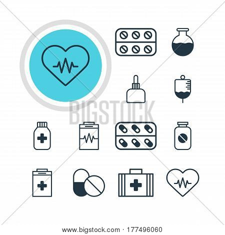 Vector Illustration Of 12 Health Icons. Editable Pack Of Aspirin, Exigency, Medicine And Other Elements.