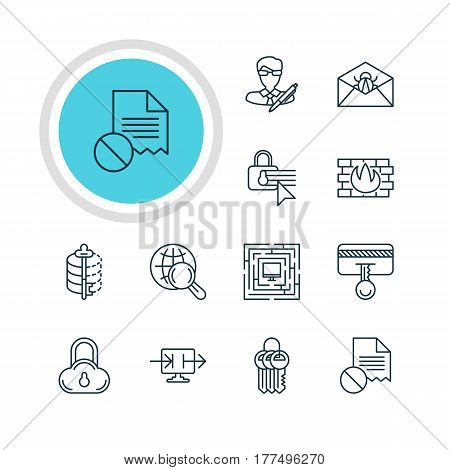 Vector Illustration Of 12 Protection Icons. Editable Pack Of System Security, Internet Surfing, Confidentiality Options And Other Elements.