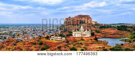 Panorama Of Blue City Jodhpur, India