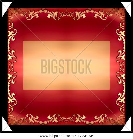 Grungy Decorative Frame  With Blank Gold Plate