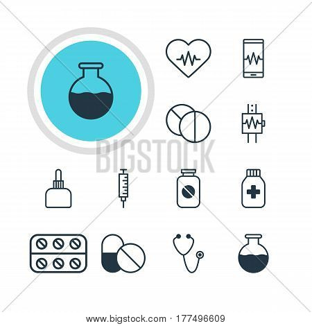 Vector Illustration Of 12 Medicine Icons. Editable Pack Of Phone Monitor, Heartbeat, Antibiotic And Other Elements.