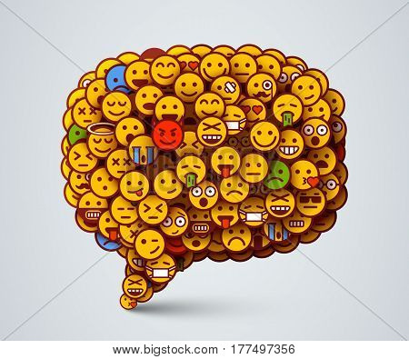 Creative Chat icon made of many small smiles. Social network and communication concept. Vector illustration.