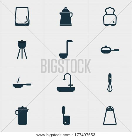 Vector Illustration Of 12 Cooking Icons. Editable Pack Of Pepper Container, Washstand, Tea Elements.