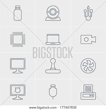 Vector Illustration Of 12 Notebook Icons. Editable Pack Of Screen, Cooler, Usb Icon And Other Elements.