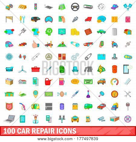 100 car repair icons set in cartoon style for any design vector illustration