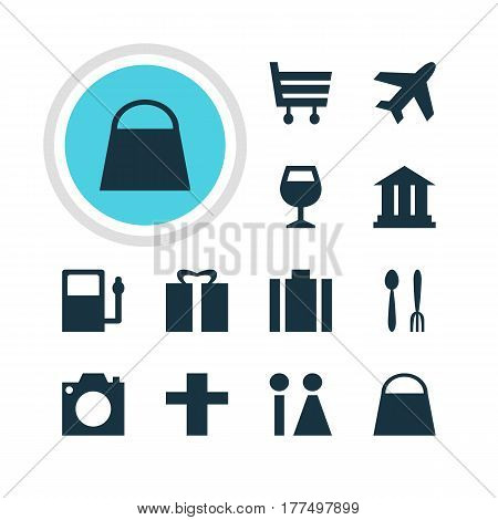 Vector Illustration Of 12 Check-In Icons. Editable Pack Of Cafe, Refueling, Wineglass And Other Elements.