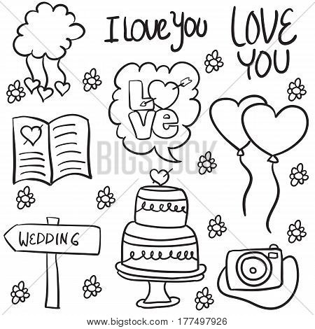 Doodle of wedding illustration style collection stock