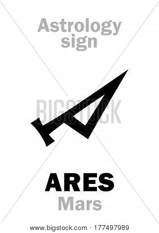 Astrology Alphabet: MARS (Ares), the planetary star (planet). Hieroglyphics character sign (ancient greek symbol).