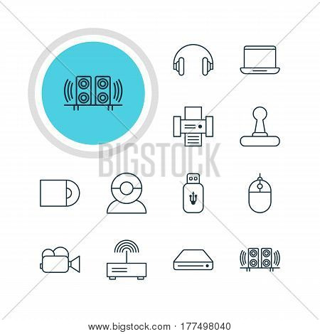 Vector Illustration Of 12 Accessory Icons. Editable Pack Of Memory Storage, Cursor Controller, Camcorder And Other Elements.