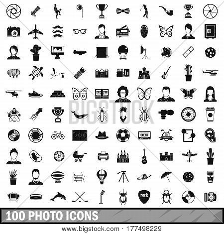 100 photo icons set in simple style for any design vector illustration
