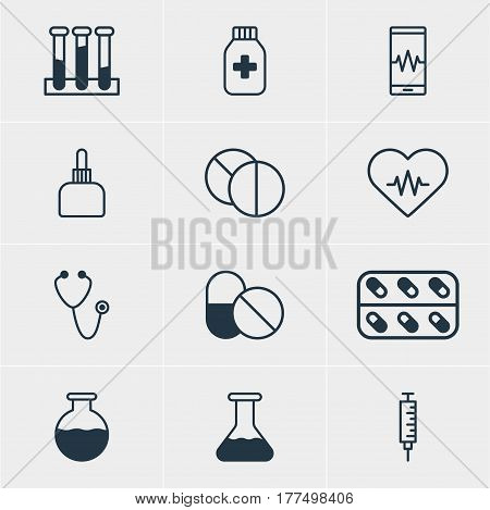 Vector Illustration Of 12 Health Icons. Editable Pack Of Flask, Pulse, Vaccinator And Other Elements.