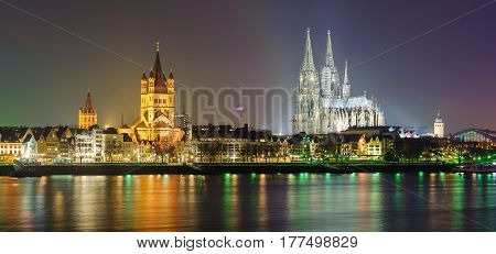 Night Panoramic View Of Cologne, Germany
