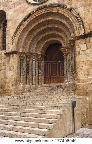 Gateway romanesque church of Santiago XII-XIII centuries. Coimbra Portugal