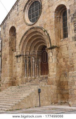 focade of Romanesque church of Santiago XII-XIII centuries. Coimbra Portugal poster