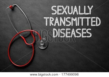 Medical Concept: Sexually Transmitted Diseases - Medical Concept on Black Chalkboard. Medical Concept: Sexually Transmitted Diseases - Text on Black Chalkboard with Red Stethoscope. 3D Rendering.