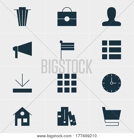 Vector Illustration Of 12 Online Icons. Editable Pack Of Grid, Account, List And Other Elements.