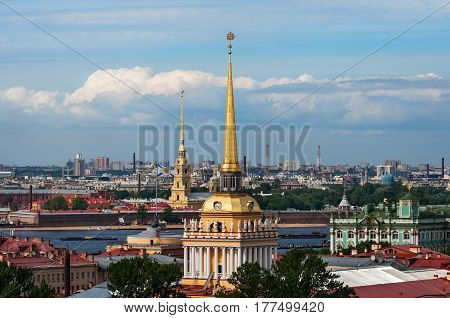 View of Admiralty building and Peter and Paul Fortress from St. Isaac's Cathedral, St. Petersburg, Russia.