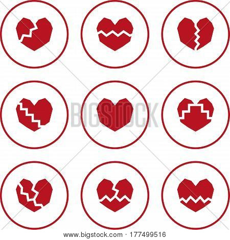 Broken heart. Set of red flat icons.