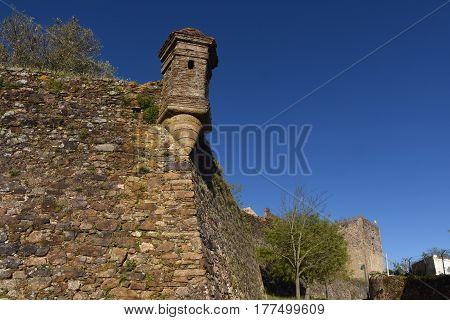 Detail walls of Castle Castelo de Vite Alentejo region Portugal