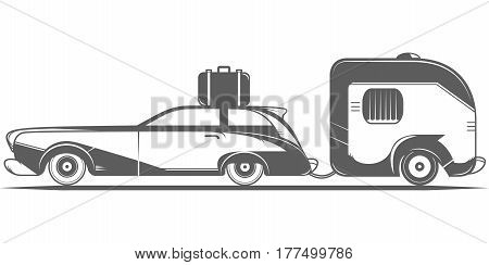 Vintage camping car on the white background.