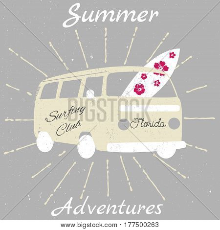 Illustration of the summer surfing vintage bus