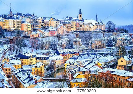 Luxembourg City Snow White In Winter, Europe