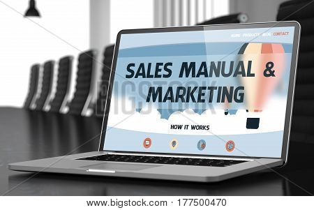 Sales Manual and Marketing. Closeup Landing Page on Mobile Computer Display. Modern Conference Hall Background. Toned. Blurred Image. 3D Rendering.