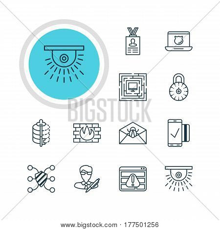 Vector Illustration Of 12 Protection Icons. Editable Pack Of System Security, Corrupted Mail, Copyright And Other Elements.
