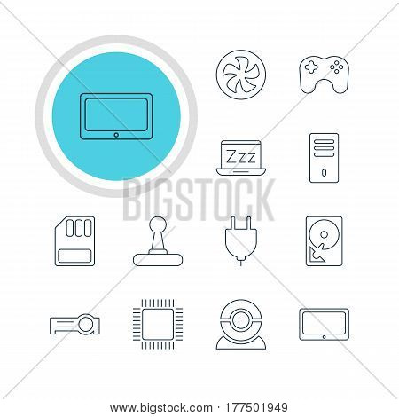 Vector Illustration Of 12 Laptop Icons. Editable Pack Of Microprocessor, Mainframe, Cooler And Other Elements.